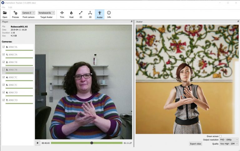 The software that processes video of a person signing into an avatar